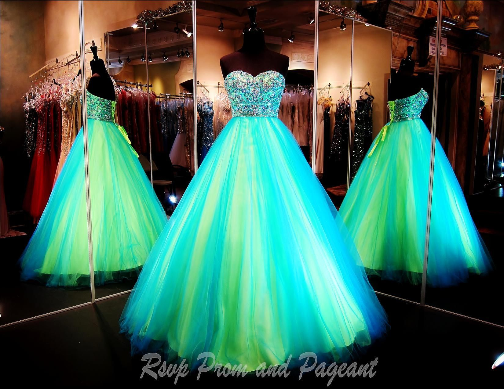 Neon colored quince dresses turquoise
