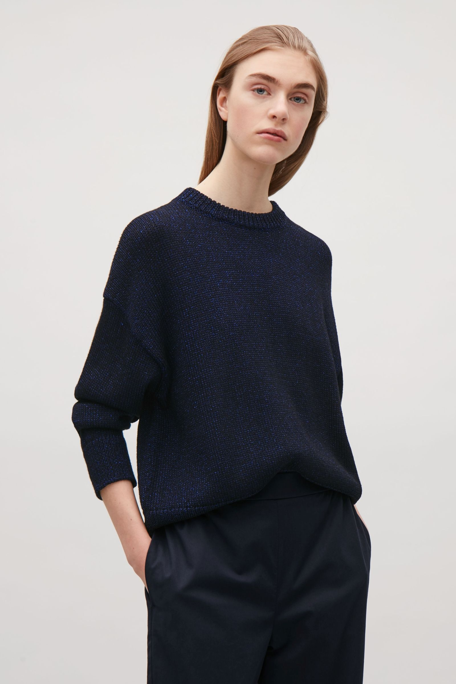 COS image 4 of Dropped shoulder knit jumper in Dark Blue  4e3f14c20