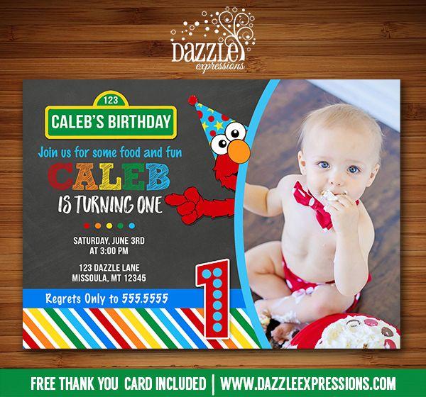 Printable Chalkboard Elmo Inspired Birthday Invitation Kids 1st