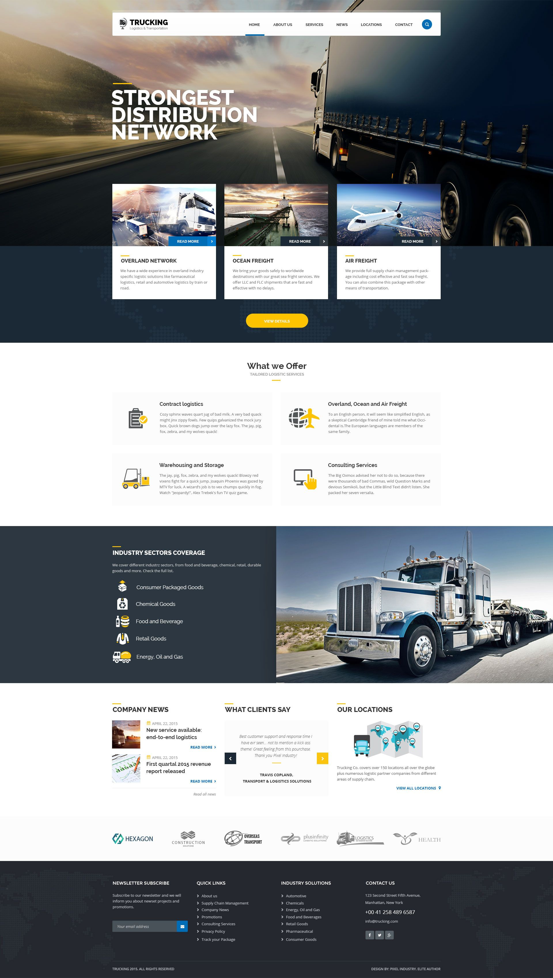 01 Hometrucking Psd Template For Logistics And Tra Web Design Websites Website Design Inspiration Homepage Design
