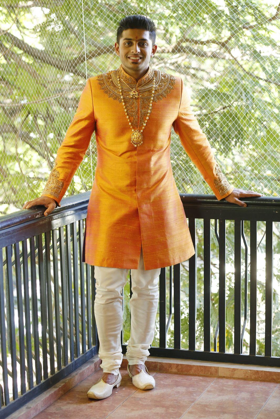 Yellow Mustard Sherwani By Sagar Tenali Indian Groom Wear Sherwani For Men Wedding Sherwani [ 1600 x 1067 Pixel ]