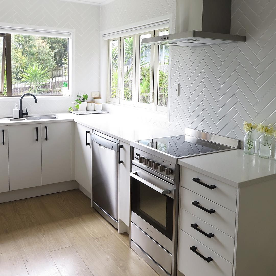 kitchen handles black pinterest remodel ideas iamtarryndonaldson on instagram herringbone tiled