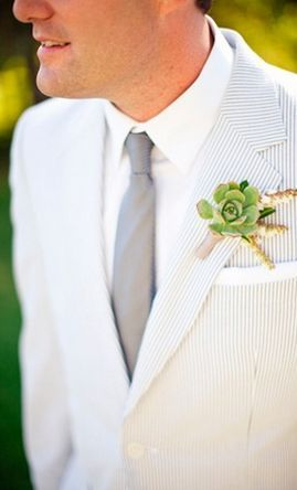 REVEL: Succulent Boutonniere- With an accent of color for the groom to coordinate with his beautiful bride!