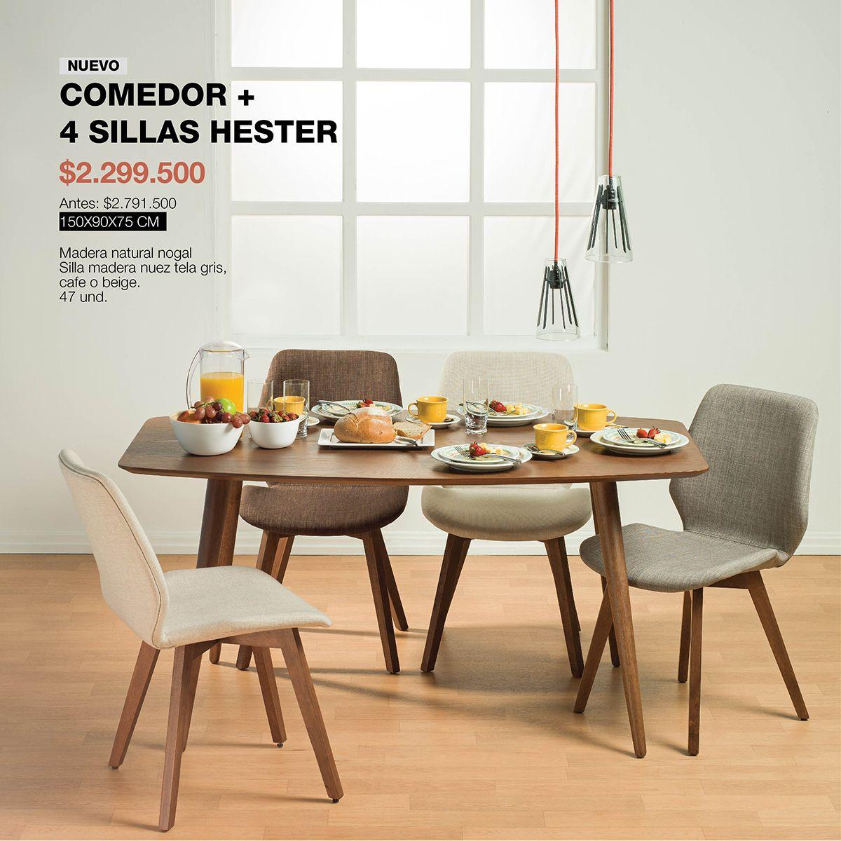 Comedor y sillas hester dise ado en madera natural con for Comedor pequea o 4 sillas