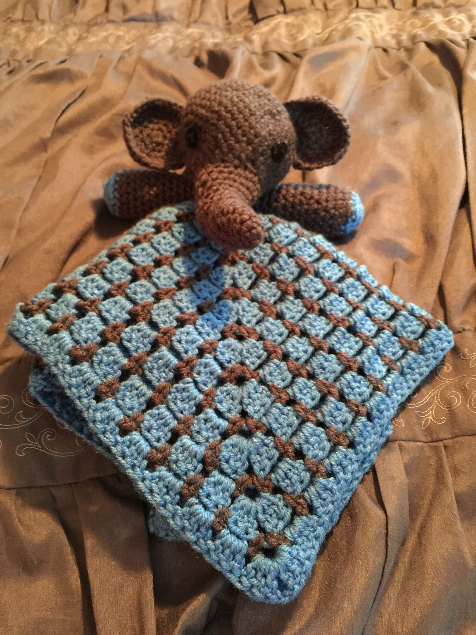 Crochet elephant snuggle buddy with block stitch granny square ...