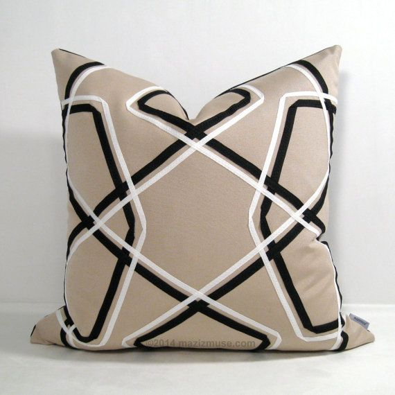 Geometric Outdoor Pillow Cover Decorative Black White Pillow Cover