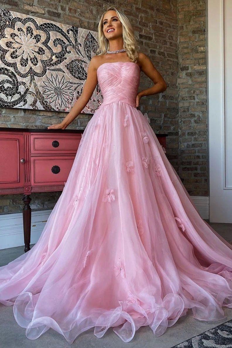 Trägerlosen rosa Tüll eine Linie langes Abendkleid, Abschlussfeier Kleid mit Applikation   – Products