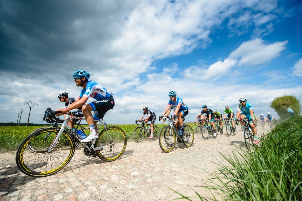 Team Garmin-Sharp Pro Cycling Team » Gallery: Grubers at Paris-Roubaix | Jack Bauer leads Dylan van Baarle.