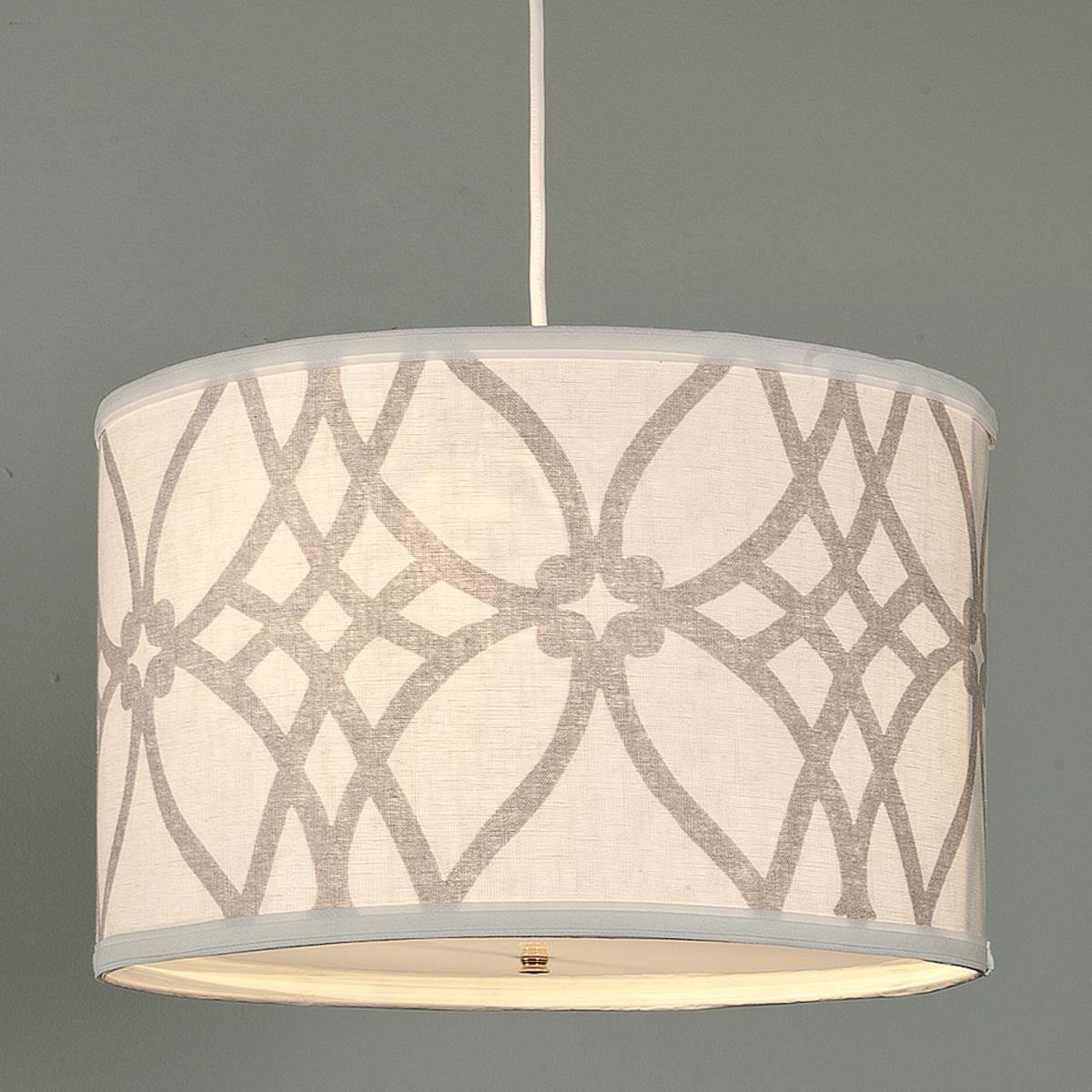 Trellis Linen Drum Shade Pendant Let There Be Light In