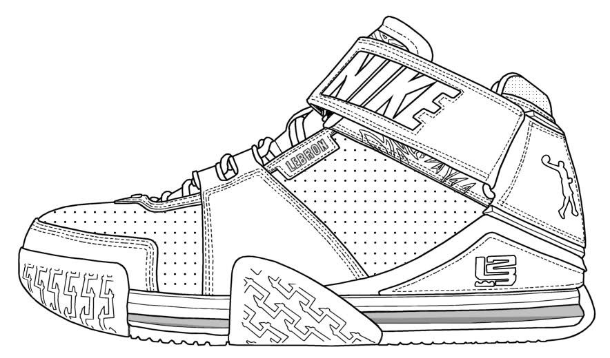 Coloring Lebron James Shoes Sneakers Sneakers Sketch