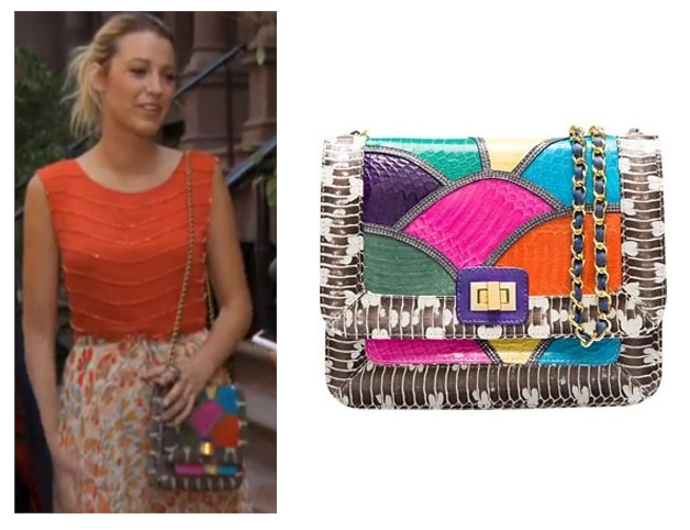 "Does this bag have the randomest name ever or what. This is the ""Disco Rainbow Jai Bag"" by Angel Jackson that Serena carries during the latest episode of Gossip Girl.  It's available HERE for £267.20"