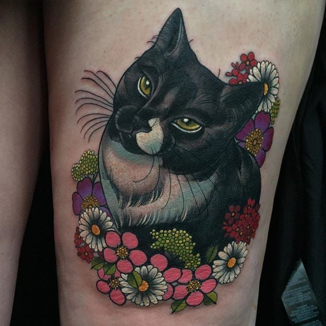 Small Neo Traditional Cat Tattoo
