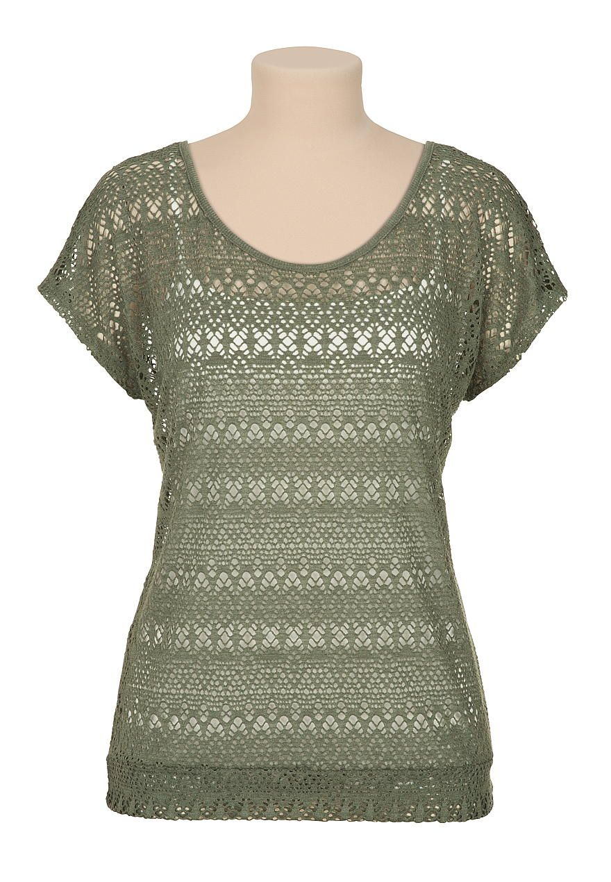 Banded bottom lace dolman tee