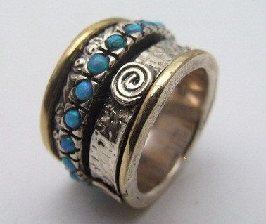 Hippie Floral spinner ring silver gold designer by Bluenoemi