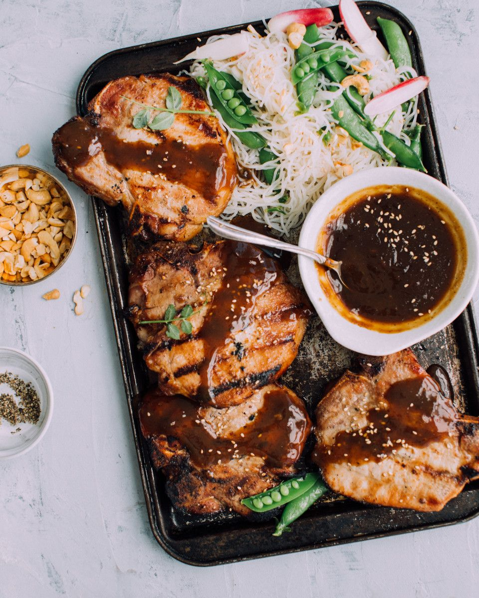 Bulgogi BBQ Pork Chops & Cold Sesame Noodle Salad. A ...
