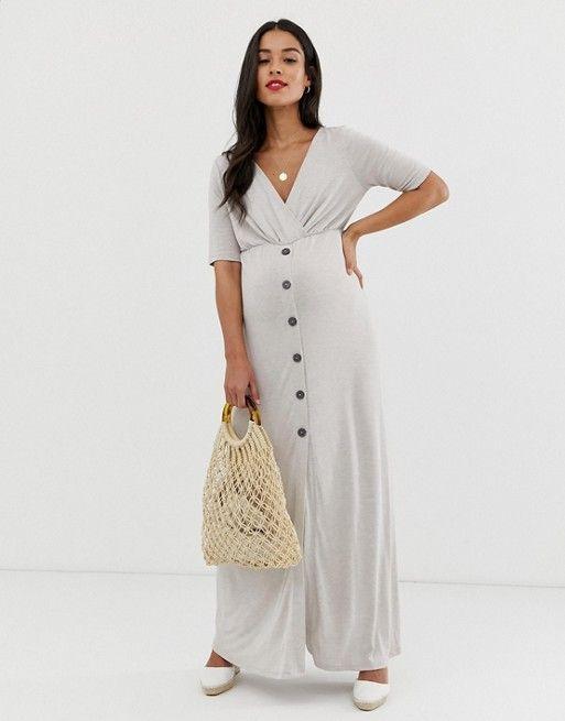 b98379bee7 ASOS DESIGN Maternity button through wrap front maxi dress