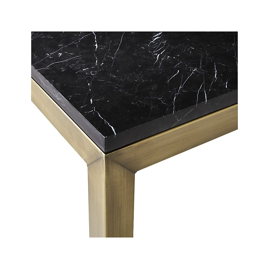 Parsons Black Marble Top Brass Base Dining Tables Crate And Barrel Black Marble Coffee Table Dining Table Marble Large Square Coffee Table