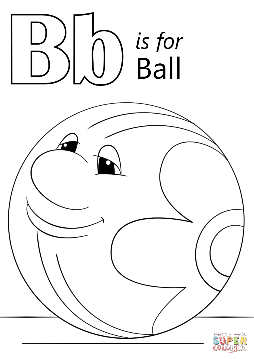B for ball coloring page