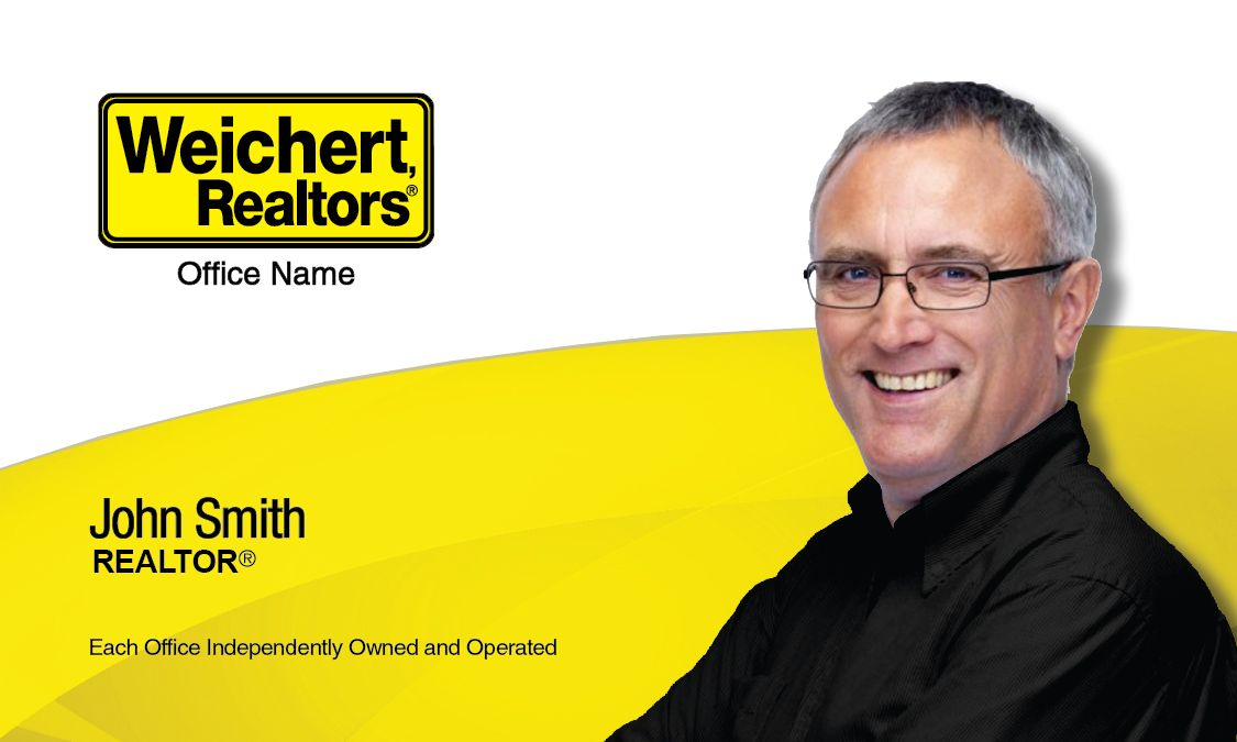 Yellow and White Weichert Realtors Business Card Template ...