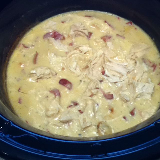 Chicken bacon ranch crockpot meal.  In crockpot, mix together 1 c. sour cream, 1 can cream of chicken soup, 1 hidden valley ranch dry seasoning packet, 2 tsp garlic, and 1/4 c. cooked bacon bits.  Add 4 chicken breasts.  Cook on high for 3-4 hours.  Shred chicken.  Serve over cooked egg noodles.