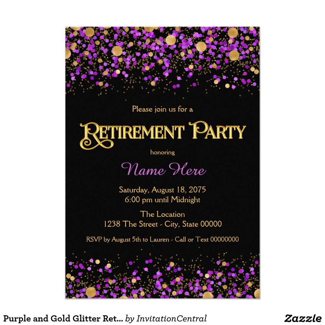 Purple and Gold Glitter Retirement Party Card | Retirement Party ...
