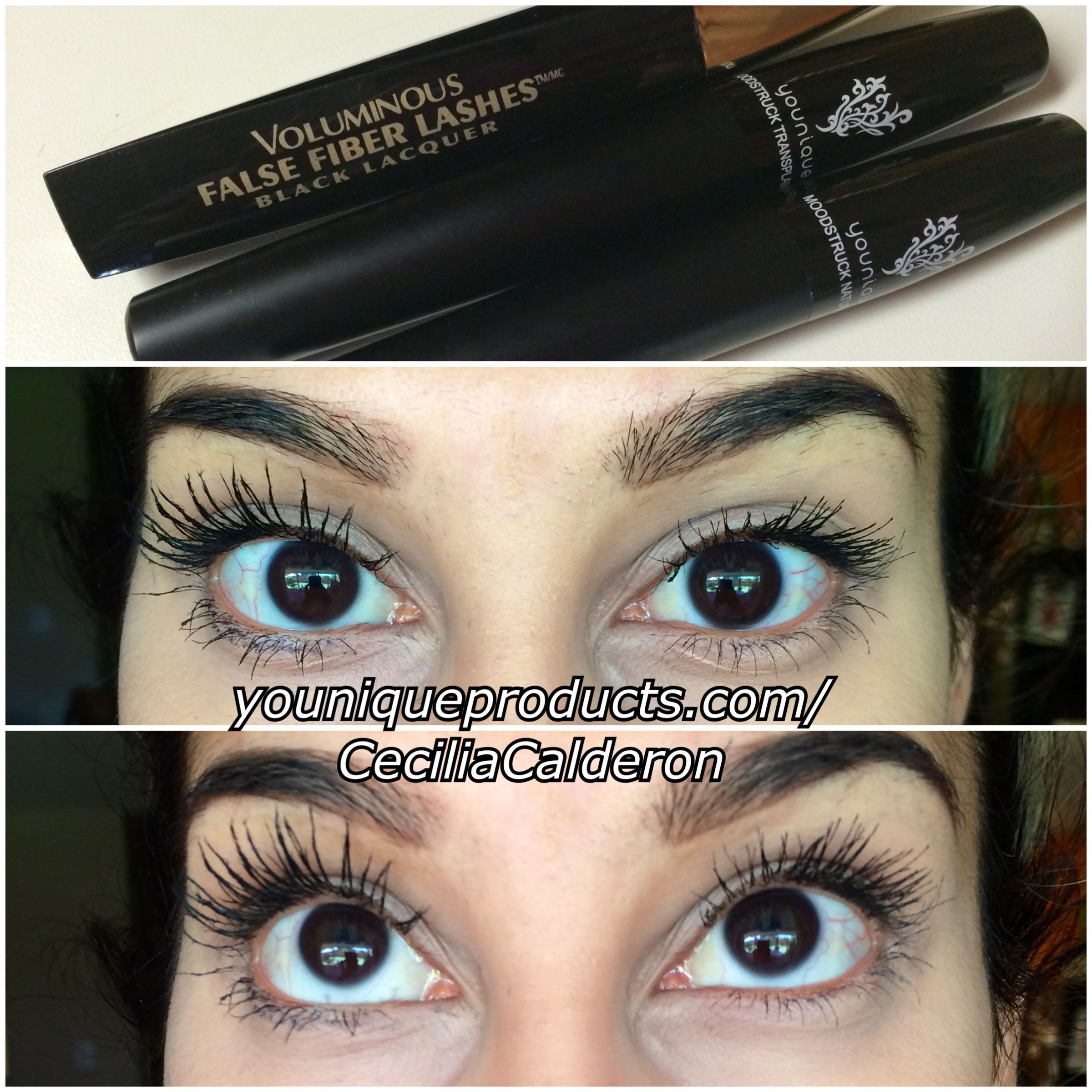 368d679c14f L'OREAL voluminous false fiber mascara VS Younique's moodstruck 3d fiber  mascara I used 2