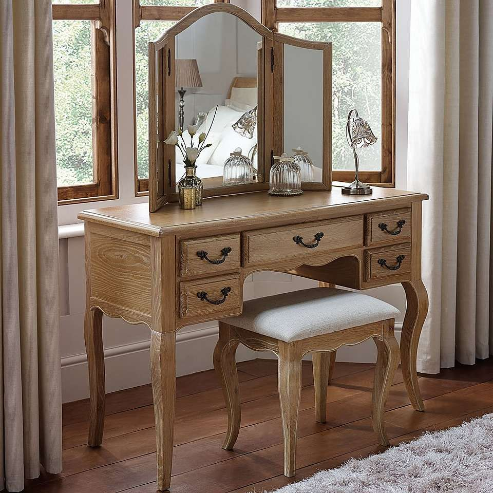 Annabelle Natural Oak Dressing Table Set | Dunelm