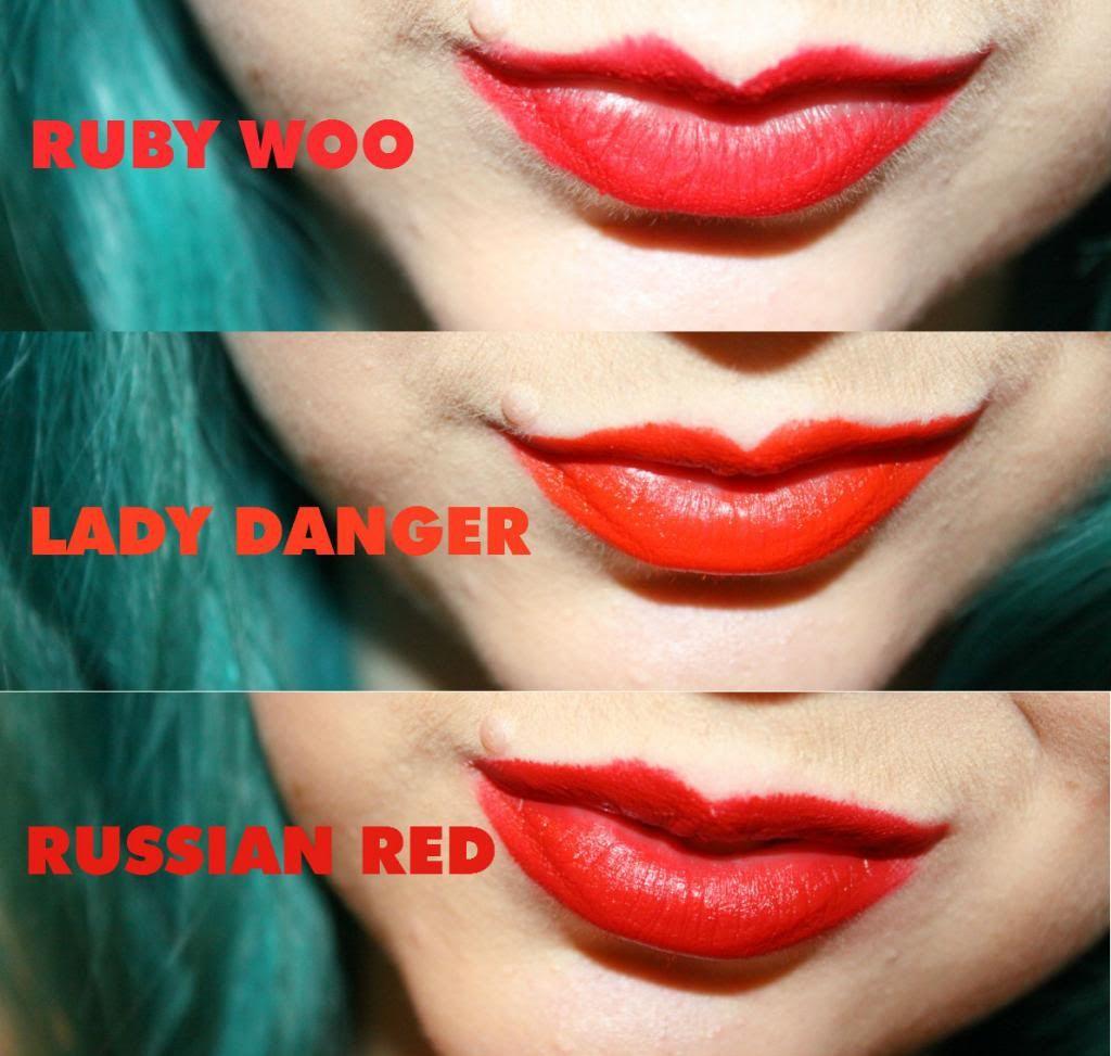 Macs Ruby Woo Vs Lady Danger Vs Russian Red Lipsticks Mac Mac