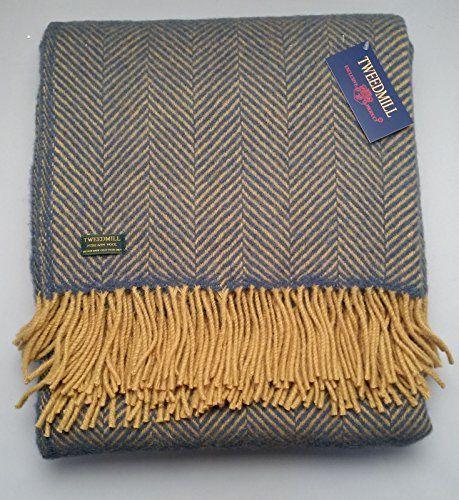 Herringbone Pure New Wool Blanket Throw Rug Navy Mustard British Made Tweedmill Textiles Https Www Co Uk Dp B0181brr5u Ref