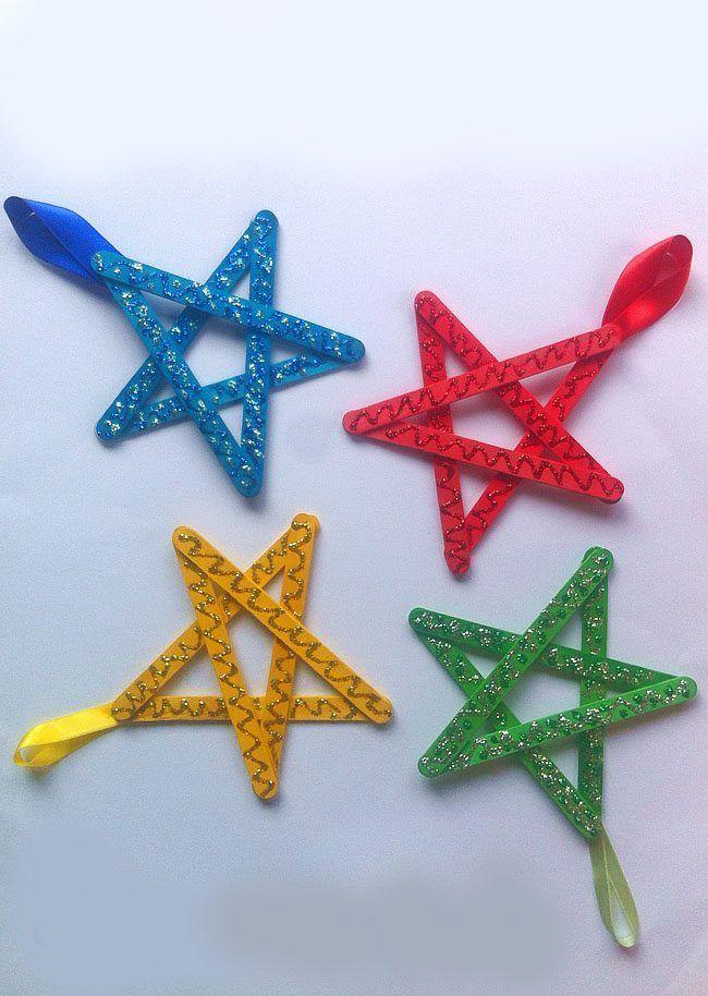 Manualidades y adornos de navidad hechos con palos de - Manualidades de navidad para ninos de preescolar ...