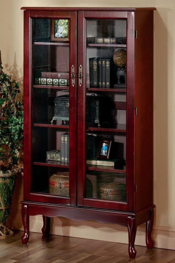 Traditional 6 Shelf Bookcase With Gl Doors In Queen Anne Style Cherry Finish