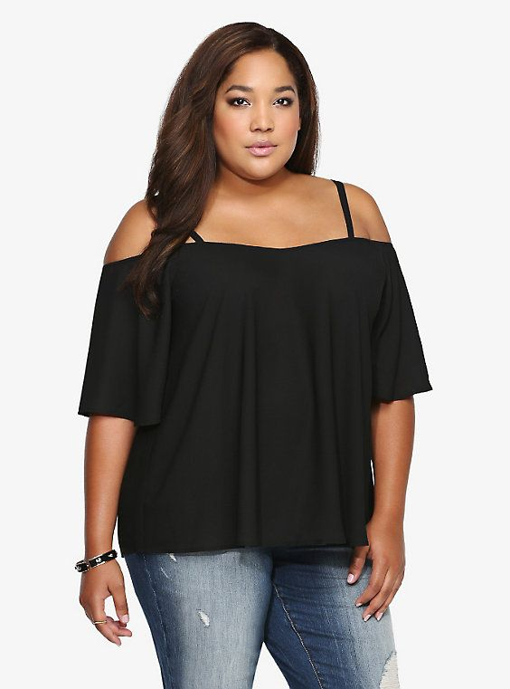 a4b1f9ddc1057 Georgette Cold-Shoulder Top