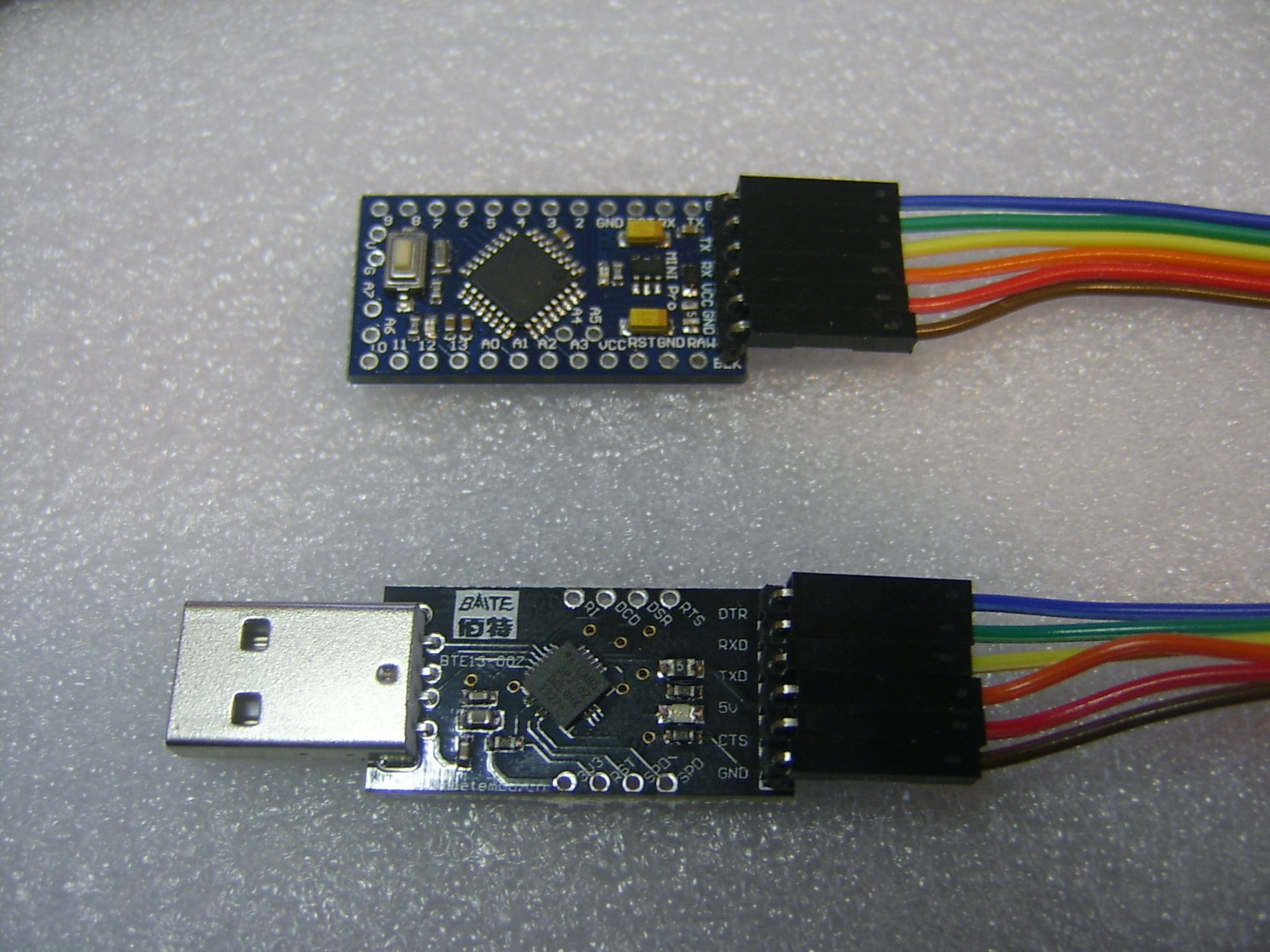 Arduino Pro Mini Connected to CP2102 Module