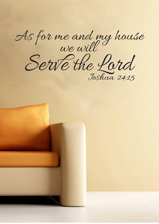 Joshua 24:15 Scripture Religious Wall Vinyl Bible Verse As for me ...