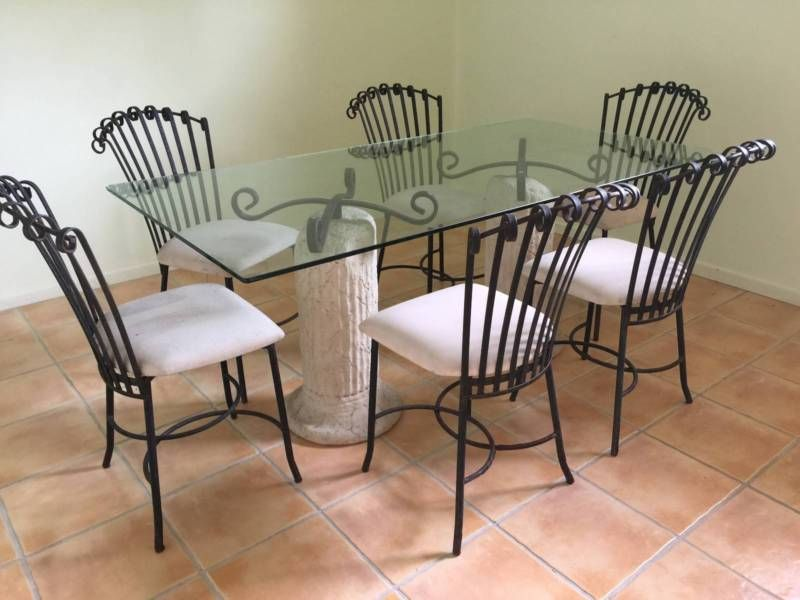 WROUGHT IRON GLASS DINING TABLE 6 CHAIRS