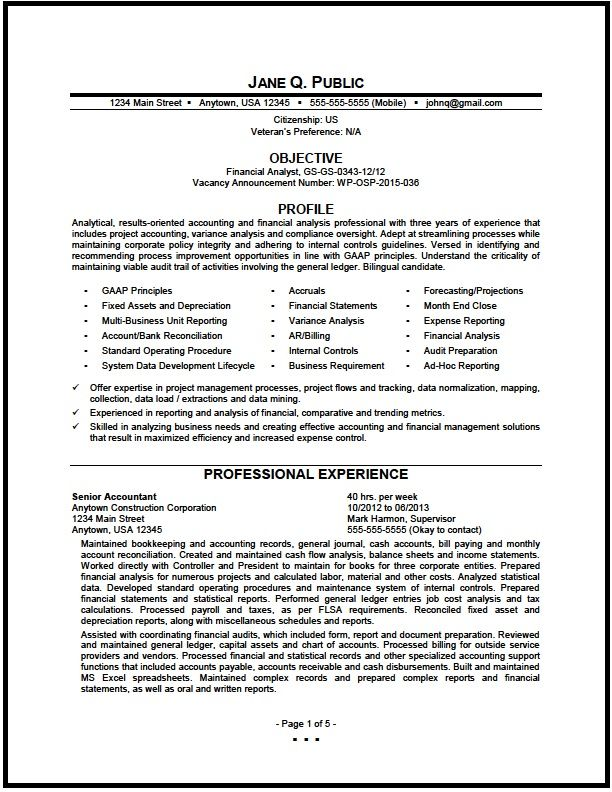 Federal Financial Analyst Resume Sle The Resume Clinic Side