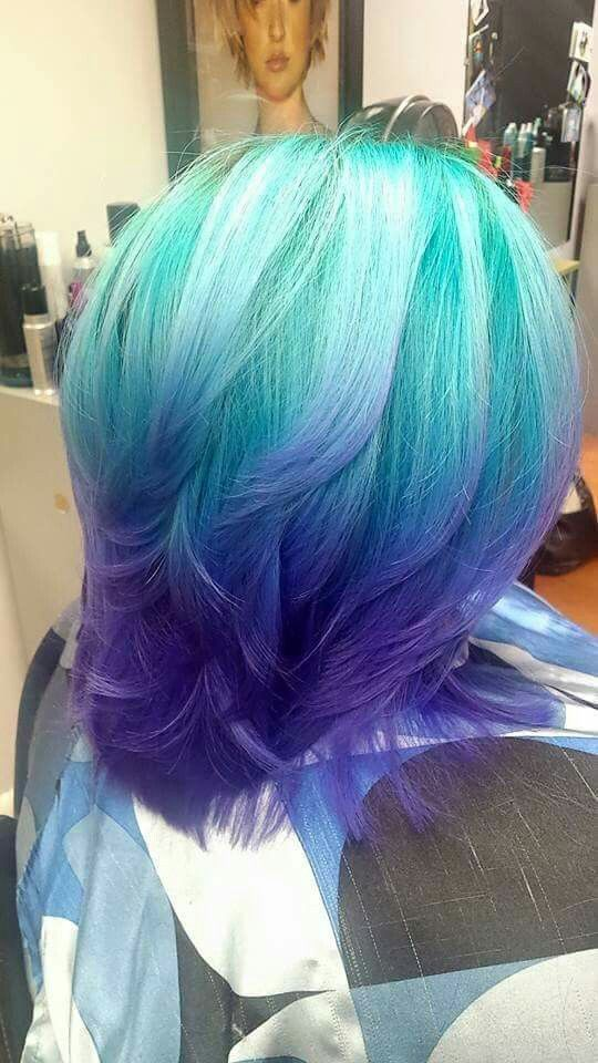 Arctic fox hair color teal blue purple ombre diy hair for Ombre mittellang