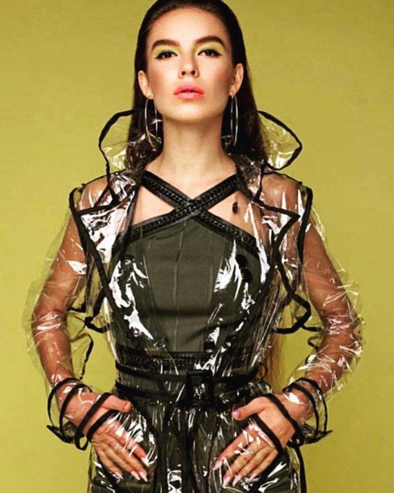 10d6bbc17c5 Ladies Transparent PVC Trench coat. Black trim