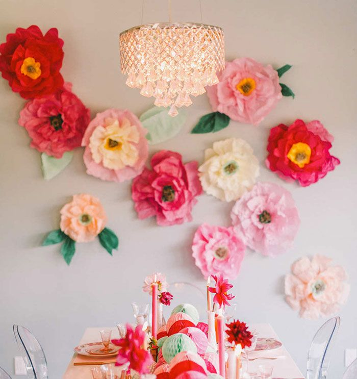 New tissue paper flowers small 50 x 37 cms for your summer fiesta make colorful tissue paper flowers to adorn your walls during your bridal shower or wedding reception for a beautiful bright contrast mightylinksfo