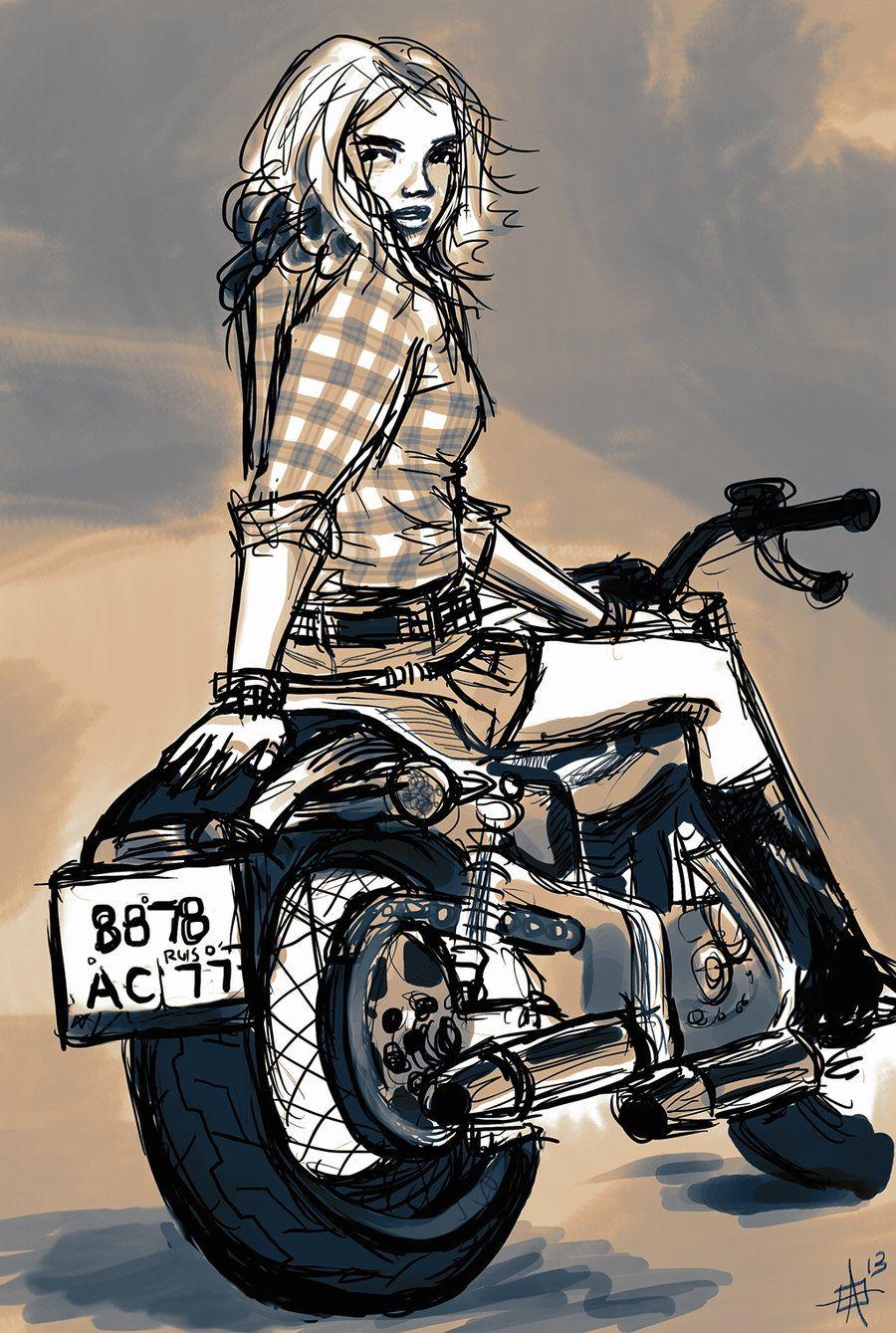 Harley Davidson Art Print Of Original Art Vintage Bike With Pinup Girl