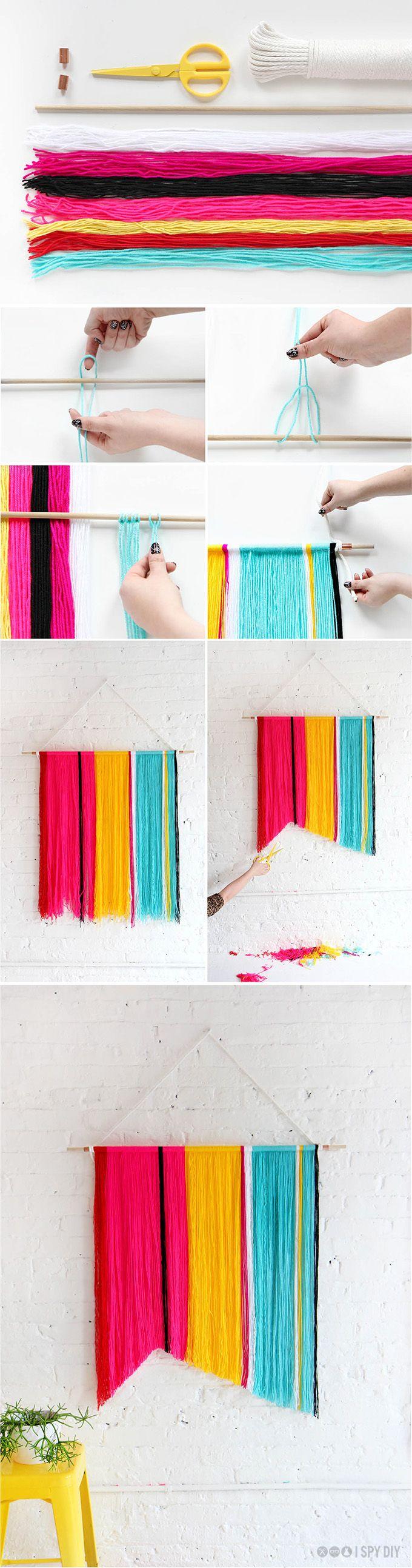 DIY Yarn Wall Handing