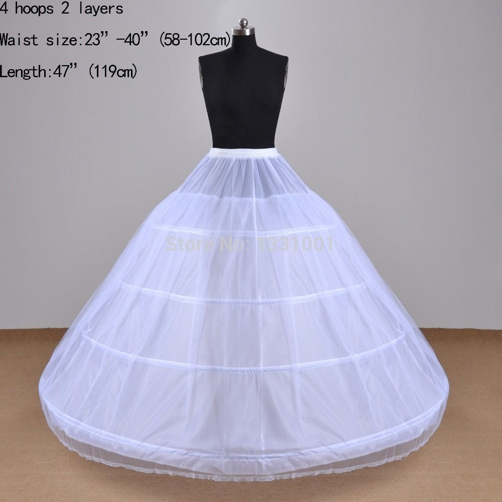 Cheap Wholesale White Wedding Petticoats Jupon 4 Hoops 2 Layers ...