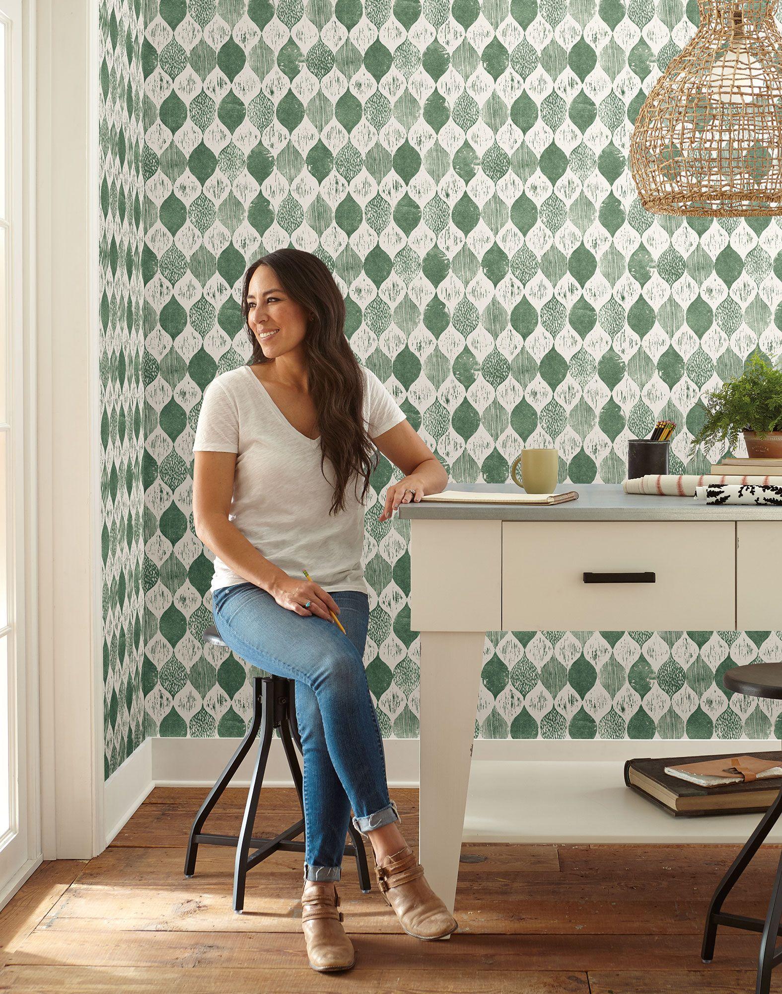 Magnolia Home Woodblock Print Wallpaper Forest Green