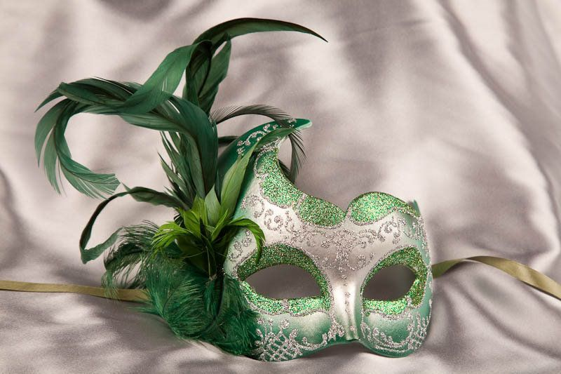 Green and Black Venetian Masquerade Mask w//Feathers Party Prom Mardi Gras