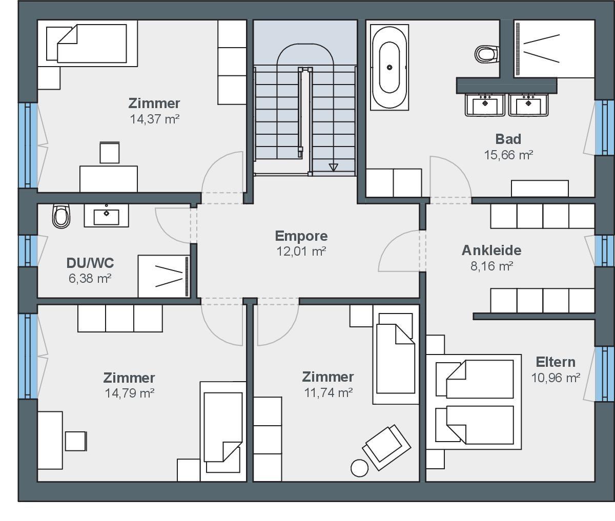 Schlichtes Einfamilienhaus mit Satteldach und Garage