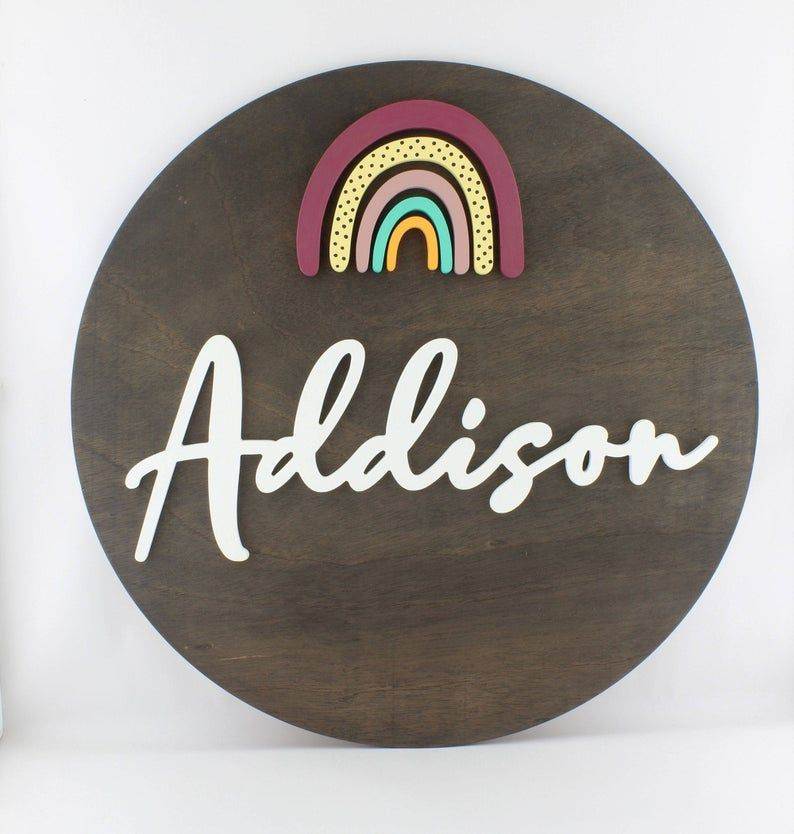 Rainbow Design Round Wooden 3D Name Sign   Kids Wall Art ...
