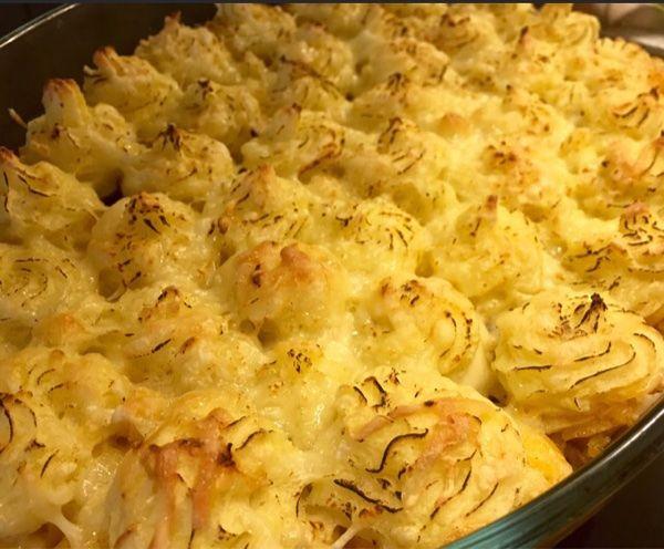 köttfärs i ugn med potatismos