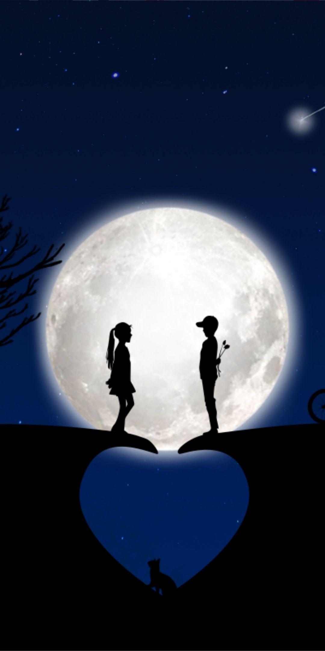 Heart, moon, couple, silhouette, art, 1080x2160 wallpaper