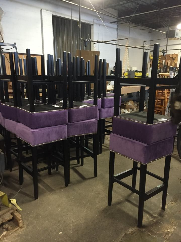Check Out These Purple Fully Upholstered Backless Bar Stools Ready To Be Inspected And Shipped For The Kandy B Backless Bar Stools Bar Stools Wholesale Chairs