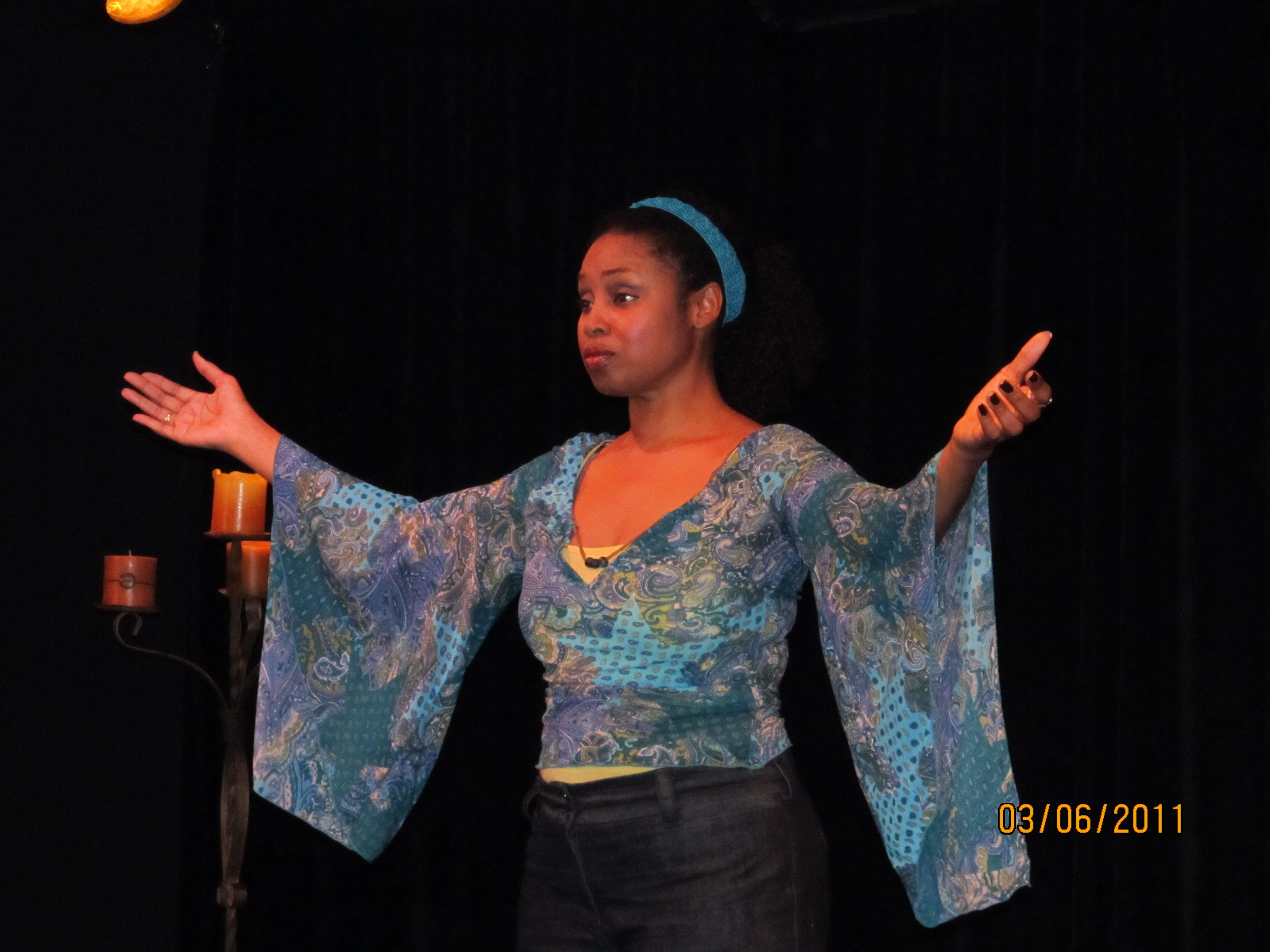 """From The Best of the Fest Benefit Performer: Juliette Jeffers during her solo work, """"ChocolateMatch.com"""""""